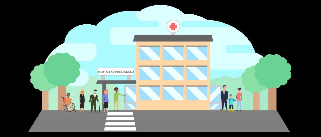 Piirroskuva hoitotarvikejakelusta ja ihmisistä matkalla rakennukseen.